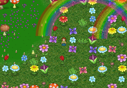 Giant flowers and Rainbows make Flower Isle a special Island to visit.
